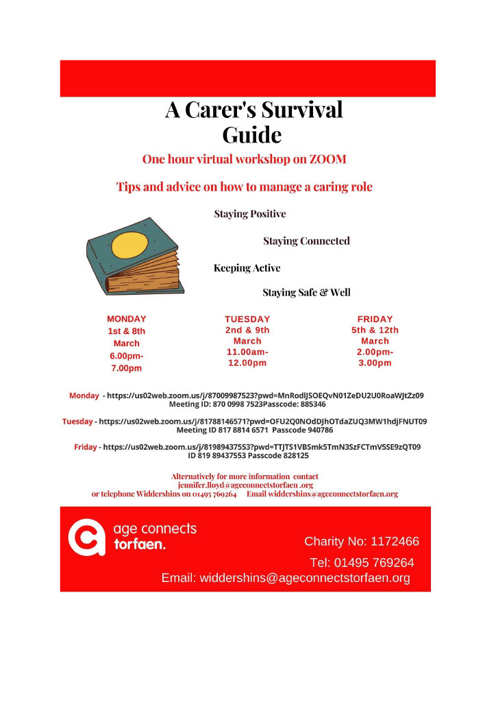 Age Connects Torfaen A carers survival guide date for march